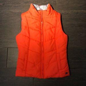 Aeropostal bright orange puffer vest